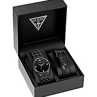 Guess Men's Black Dress Watch Box Set