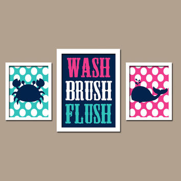 Nautical Sea Ocean Animal Whale Crab WASH Brush Flush Polka Dots Navy Blue Pink Turquoise Set of 3 Trio Prints Decor WALL ART Boy Bathroom