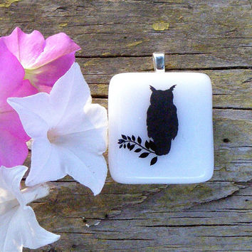 Fused Glass Pendant Necklace, Owl Decal on White Glass