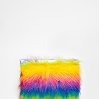 The Ragged Priest Faux Fur Multicoloured Stripe Clutch at asos.com