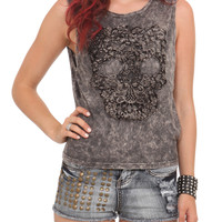 Acid Wash Crochet Skull Top