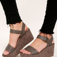Aoife Taupe Suede Platform Wedge Sandals