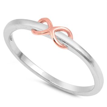 Ladies Rose Gold Infinity Ring Size 2-10 over .925 Sterling Silver