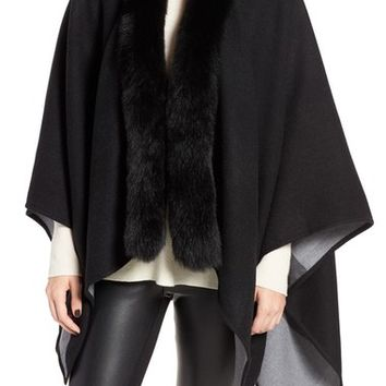 Burberry Merino Wool Cape with Genuine Fox Fur Trim | Nordstrom
