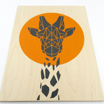 Cute Giraffe on Plywood,Geometric Animal Art.Handmade Original Stencil Art on Wood, Geometric Design, Origami Inspired Art