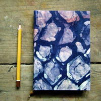 tissue - Handmade batik journal, notebook,  lined and antique paper ,navy blue-pink-white-violet