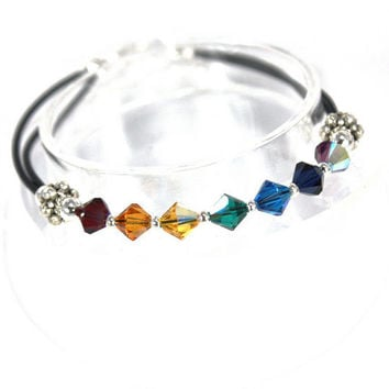 HARMONY-Chakra Bracelet with 6mm Swarovski Crystals and Black Metallic Coil