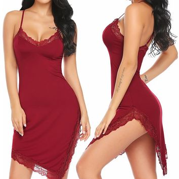 Women Chemises Lingerie Lace Trim Split Irregular Sexy Nighty Full Slip Babydoll Sleepwear