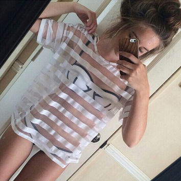 FASHION SEXY STRIPED SHORT-SLEEVED TOPS