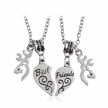 2 Piece Set Browning Interlocking Heart Shape Best Friends & Buck Browning Necklace Set BFF Sister