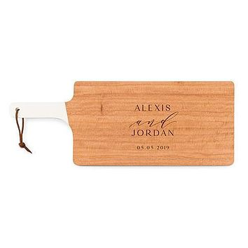 Personalized Wooden Cutting and Serving Board with White Handle - Modern Couple Etching (Pack of 1)
