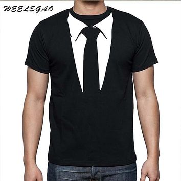 WEELSGAO New Novelty Men T Shirts Tuxedo Tees Retro Tie Funny Camisetas Men O Neck Top Tshirt Casual Fitness Mens Clothing