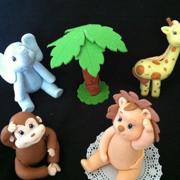 Lion Birthday Decorations, Jungle Safari Cake Toppers, Lion Baby Shower, Jungle Animals Cake Topper, Blue Elephant  Birthday, Giraffe Topper