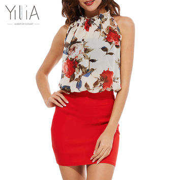 Yilia Summer  Rose Floral Chiffon Dress  Dresses Vintage Bodycon Vestido  Sleeveless Halter Red  Party Dresses