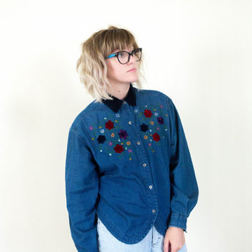 90s floral denim button down, velvet collar, blue flower collared tee shirt, 1990s ironic vtg tumblr soft grunge vaporwave, urban outfitters