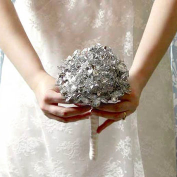 Wedding Flowers - Bridal Bouquet of Beautiful Beaded Silver Mirror Flowers - Wedding Bouquet - Great Brooch Bouquet Alternative
