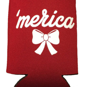 Ladies 'Merica' Preppy Bow Koozie