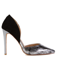Textured Silver Black d'Orsay Pumps