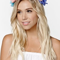 With Love From CA Blue Oversized Flower Crown - Womens Jewelry - Blue - One