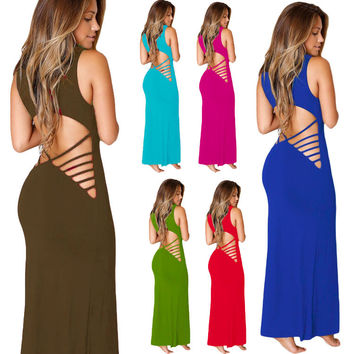 Sexy Bandage Hollow Waist Club Party Long Dress