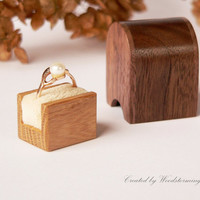 Wooden handmade engagement ring box - ready to ship
