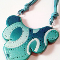 Azur lace necklace, pendant polymer clay jewelry
