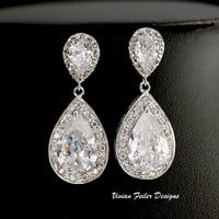 Bridal Earrings Short Wedding Jewelry Bling Cubic Zirconia Prom - Vivian Feiler Designs | Wedding