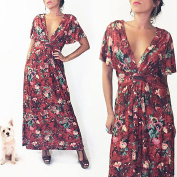 Vintage 1970's Floral CINNAMON GIRL Maxi Caftan Summer Dress || Plunging Neckline || Size Small Medium