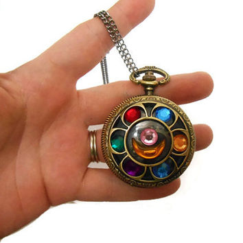 Sailor Moon Locket Vintage Brass Pocket watch Necklace with gears sailormoon limited
