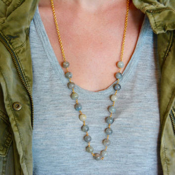 Labradorite Necklace, Gold Necklace with Labradorite Beads, Earthy Necklace, Mixed Media Necklace