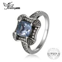JewelryPalace Retro 1.8ct Natural Sky Blue Topaz Halo Ring For Woman Genuine 925 Sterling Silver Ring Wedding Fashion Jewelry