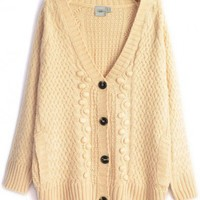 V-Neck  Creamy yellow wool shrug sweater  cardigan type   style zz919001 in  Indressme