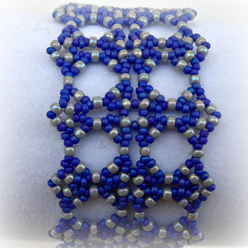 Beadwork Bead Victorian Bracelet. Cobalt blue. Light Grey.