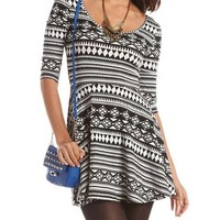 Aztec Print Cotton Skater Dress: Charlotte Russe