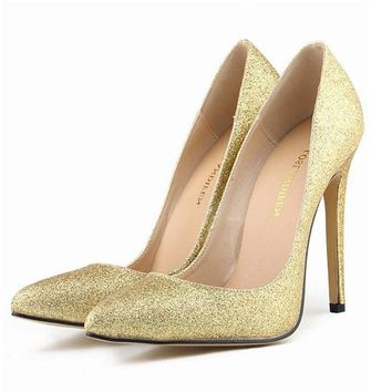 LOSLANDIFEN Plus Size 35-42 Shoes Woman Glitter Sequined Wedding Bridesmaid Shoes Ultra Very High Heel Stiletto Pumps Women
