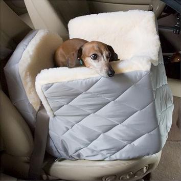 Snoozer Pet Dog Cat Puppy Outdoor Lookout I Portable Car SUV Secure Safety Seat Medium Grey Quilt