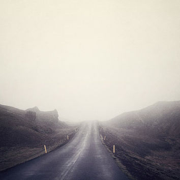 Road in Fog, Iceland, Minimal Landscape Photography, Purple, Plum, Violet, Autumn, Wanderlust, Travel, Adventure - All Roads Lead Home