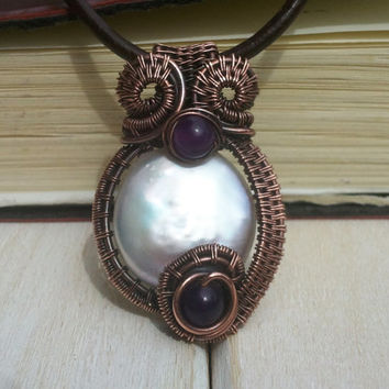 Pearl Pendant - Wire Wrapped Pendant - Wire Wrapped Jewellery Handmade - Wire Jewellery - Freshwater Pearl