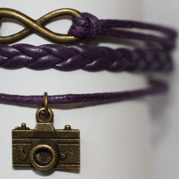 OPEN~ Handmade Infinity Camera Charm Purple Leather Wedding Photographer Gift Multilayer Handcrafted Bracelet ilovecheesygrits