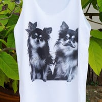 Chihuahua Shirt Mustache Shirt Puppy Dog Tank Top Dog Shirt Dog T-Shirt Unisex Shirt Women Tops Tunic Sleeveless Tank Top Women Shirt Size M