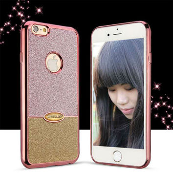 Caseology Two-color Bling Glitter Silicone Phone Case For iPhone 5 5S SE 6 6S 7 Plus Coque Soft Plating Side Back Cover Fundas