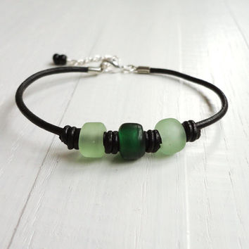 Green knotted bracelet black leather cords glass pony beads boho cuff
