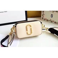 Marc Jacobs  stylish women's patchwork color shoulder bag is a hot seller of casual shopping bags Apricot