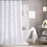 White Falling Petals Shower Curtain