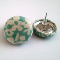 White and pastel mint floral button earrings