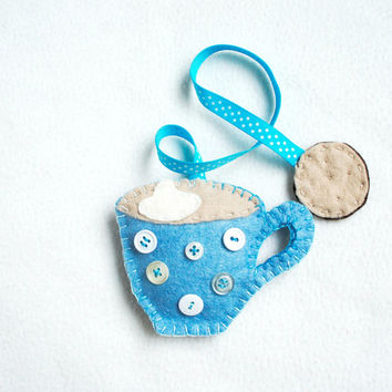 Bookmark with a cup of coffee with bisquit for booklover wool felt - spotty blue cup with white buttons polka dots and a bisquit - handmade