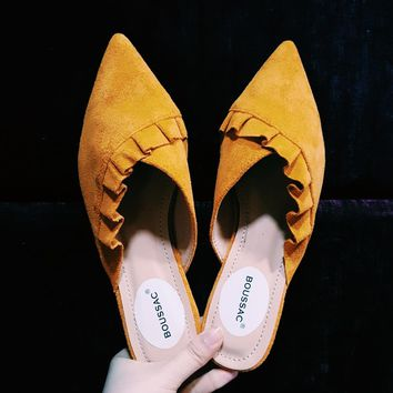 Chic Pleated Flat Women Mules Pointed Toe Faux Suede Leather Fashion Flats Women Slip on Summer Flat Shoes Women SWA0003