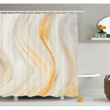 Apartment Psychedelic Wavy Brushstroke Marble with Blurry Splash Effects Art Decor Shower Curtain Set