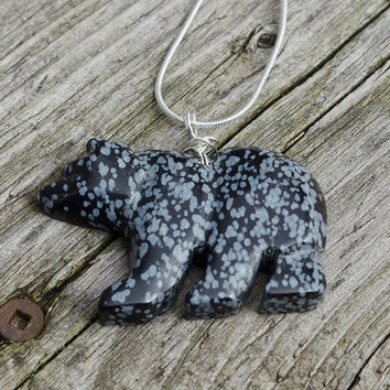 Snowflake Obsidian Black Bear Pendant ~ Black and White Stone Bear Necklace    ~ Gift for Mom  ~ Graduation Gift ~ Anniversary Present