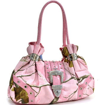 Realtree Camouflage Shoulder Bag with Rhinestone Buckle - 55798